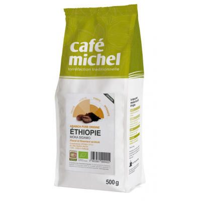 KAWA ZIARNISTA ARABICA 100% SIDAMO ETIOPIA FAIR TRADE BIO 500 g - CAFE MICHEL